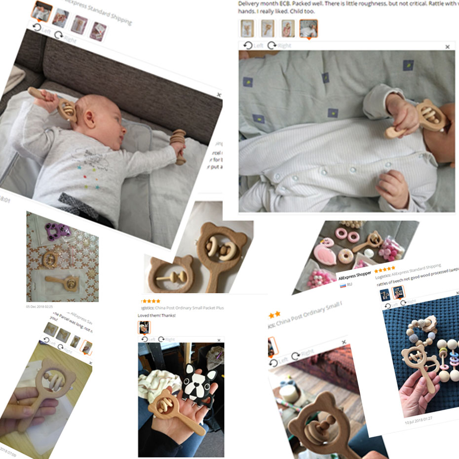 Купить с кэшбэком Wooden Rattle Beech Bear Hand Teething Wooden Ring Baby Rattles Play Gym Montessori Stroller Toy Educational Toys Let's Make