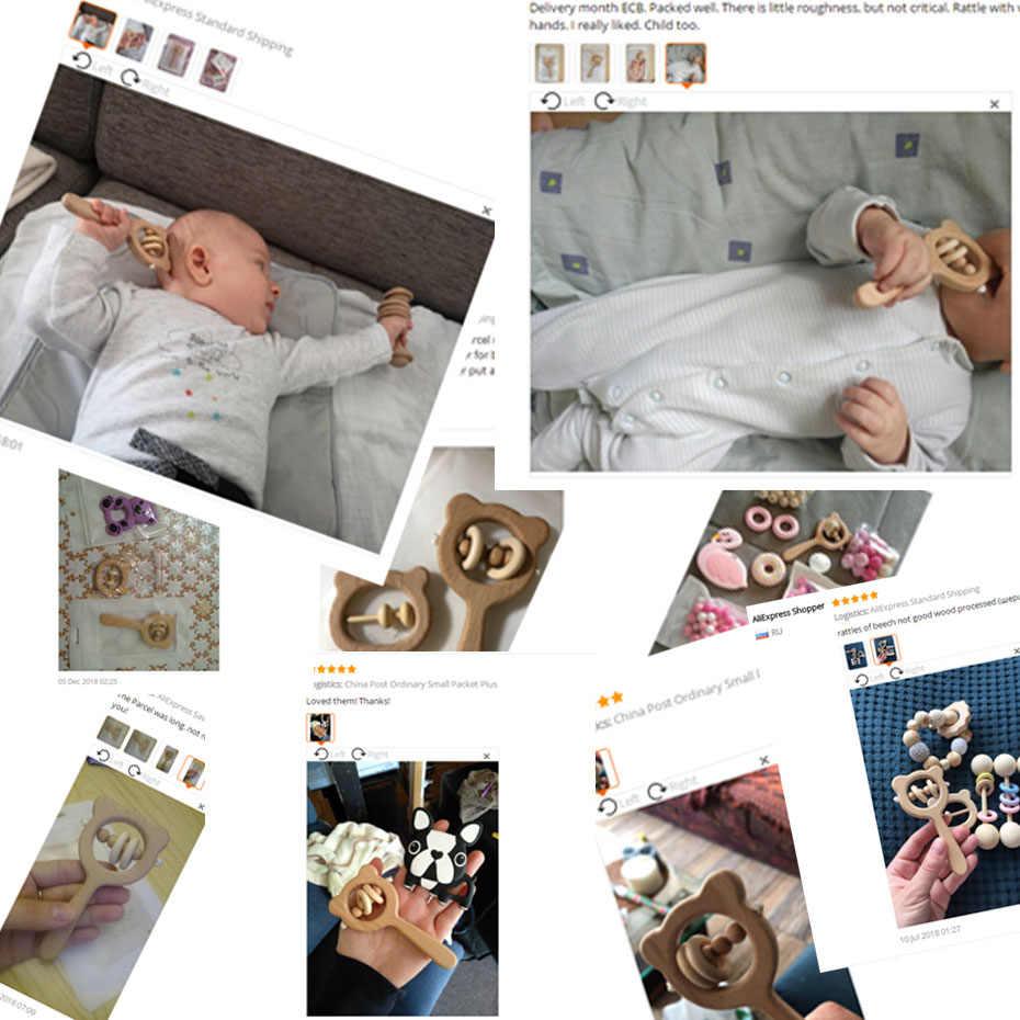 Деревянная погремушка бук медведь рука прорезиненный деревянный кольцо детские погремушки игровой, для тренировок Монтессори коляска Обучающие игрушки Давайте сделать