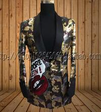 S-XXXL New mens long camouflage sequins costumes Show singers club stage suits plus size