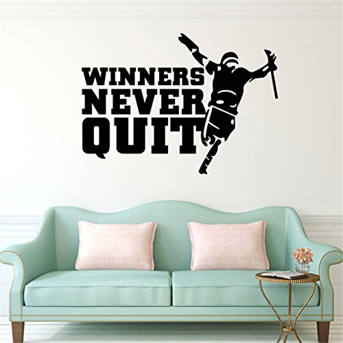 q024 winners never quit quote football player wall stickers graphic