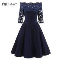 JLI MAY Elegant Autumn Lace Dress Women Off Shoulder Solid Three Quarter Sleeve Midi Black Burgundy
