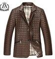 S-5xl! 2016 hombres de la moda de nueva otoño e invierno a cuadros delgado cuero de la PU de la chaqueta de algodón acolchado. envío gratis