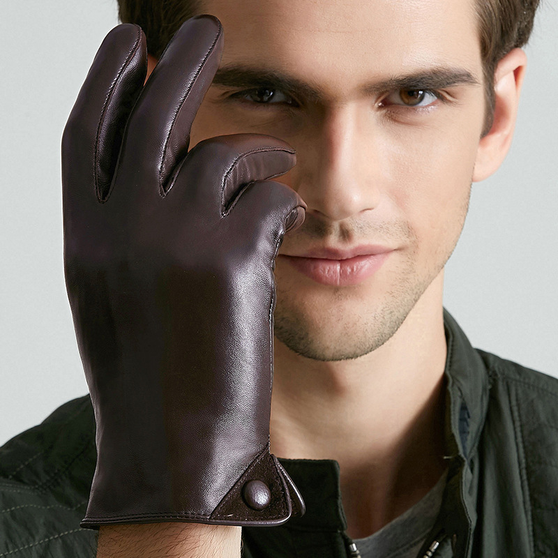 Genuine Leather Gloves Male Winter Touchscreen Sheepskin Gloves Warm Plus Velvet Short Style Man's Mittens BJM01