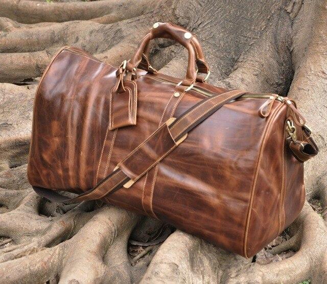 Western style Leather large capacity leather Travel Bag big ...