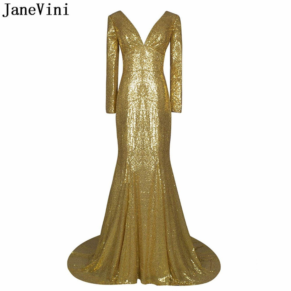 JaneVini Sparkle Sequined Arabic Gold   Bridesmaid     Dresses   Sexy Deep V Neck Long Sleeves Backless African Mermaid Prom Party Gowns