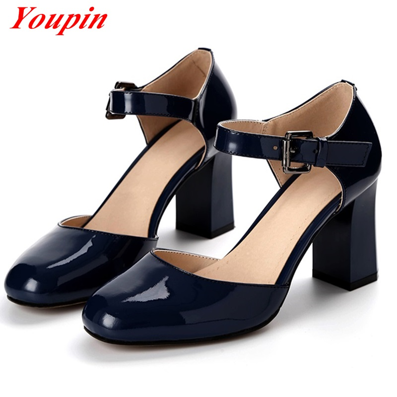 Thick with pumps shoes 2016 Latest Comfortable Natural leather Patent Leather Square Toe Blue Red British