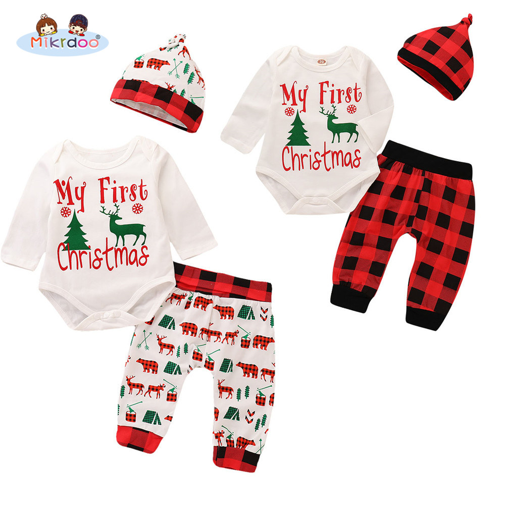 3602329cb59b Toddler Newborn Baby Boys Girls My First Christmas Letters Print Clothes  Set Christmas Tree Long Sleeve Romper Pant Hat Outfit