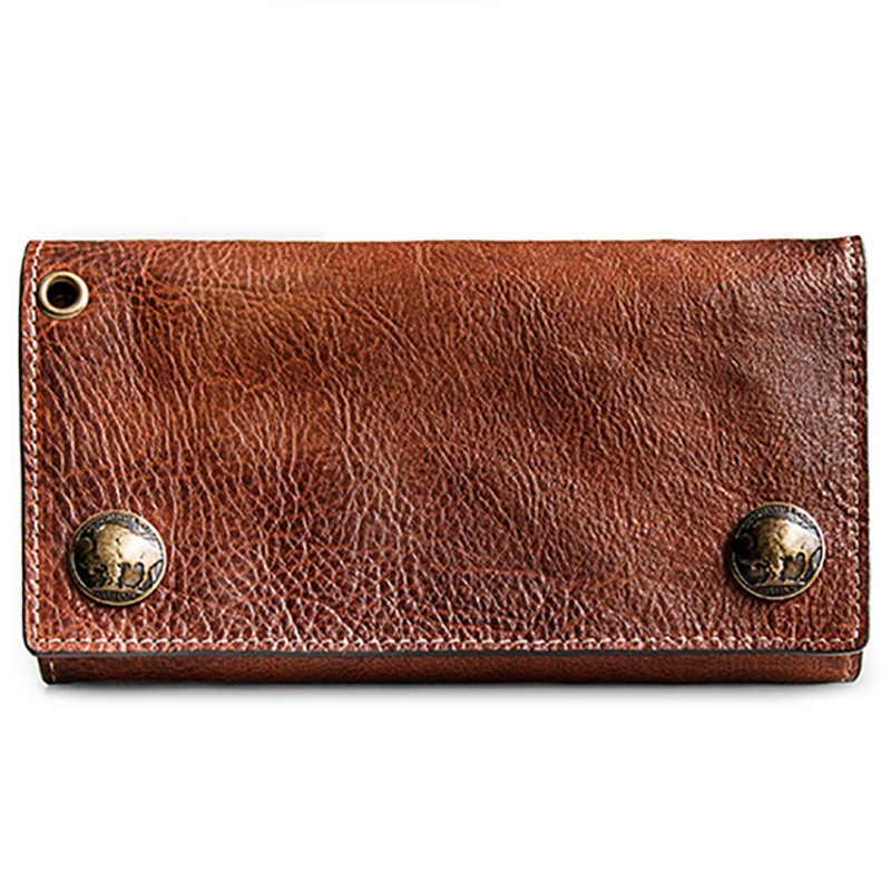 AETOO голова воловья кожа бумажник мужской длинный богатство ткань ретро кожаный зажим для билета Анти-кражи tide Мода