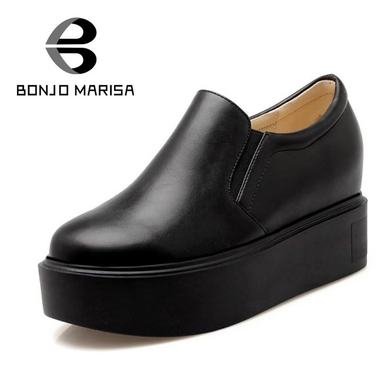 ФОТО BONJOMARISA Hot Sell Women Pumps Fashion Hidden Wedge Shoes Woman Slip On White Black Cozy Shoes Thick Platform Pumps