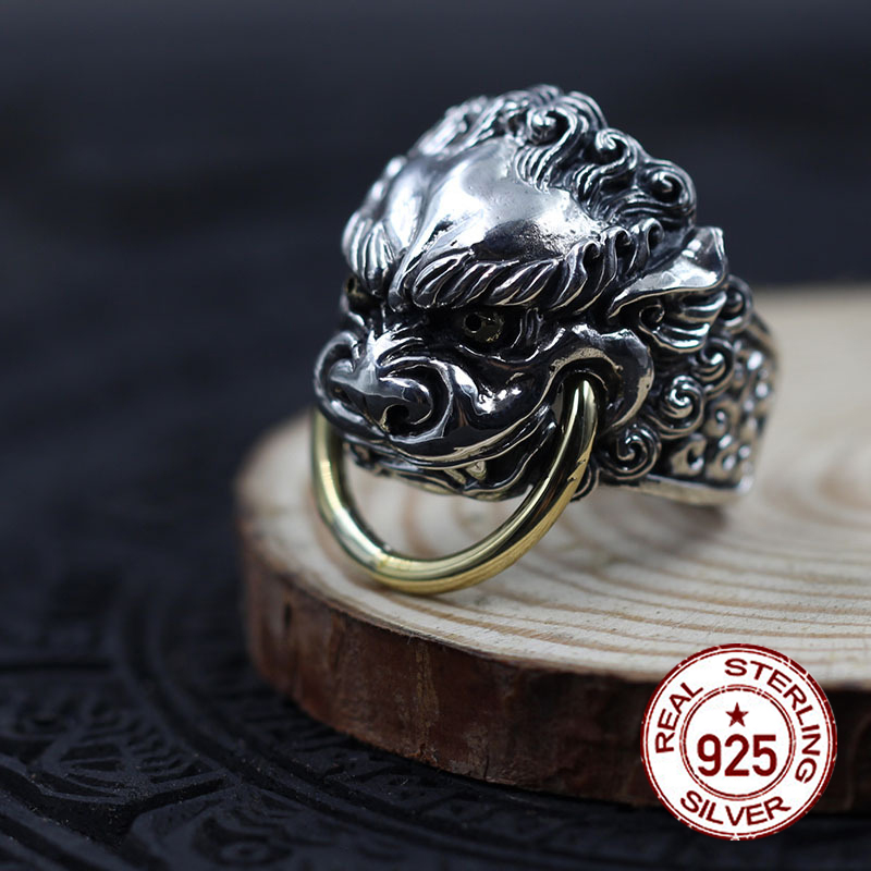 S925 sterling silver mens open ring personality retro classic style carved lion modeling send lovers jewelry gift 2018 Hot newS925 sterling silver mens open ring personality retro classic style carved lion modeling send lovers jewelry gift 2018 Hot new