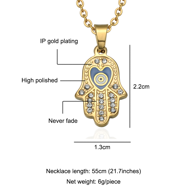 HIP Hop Stainless Steel Mano De Fatima Hand Pendant Gold Crystal Evil Eye Necklaces Pendants For Men Women Jewelry Dropshipping in Pendant Necklaces from Jewelry Accessories