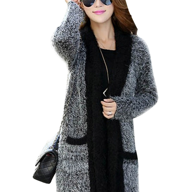b477d5adaa4 Wool Long Mohair Sweaters Fuzzy Autumn Winter Clothing Tricot Tunic Knitted  Cardigan Women Poncho Shrug 2015 Jumper Pull HY1179