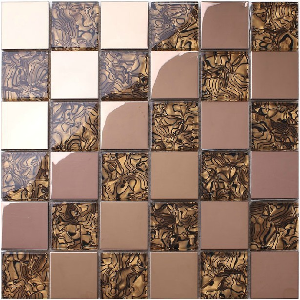 Crystal Kitchen backsplash tiles steel covers mosaics rose gold ...