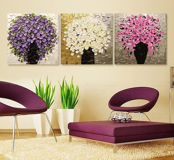 Free shipping 3 piece diy oil painting canvas rich for Country living customer service number