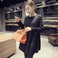 Elegant O-neck Collar Solid Black Skirt A-line Maternity Dress Korean Fashion Spring Pregnancy Clothes For Pregnant Women