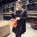 Elegante collar del o-cuello negro sólido falda a-line dress primavera de la moda coreana de maternidad para las mujeres embarazadas