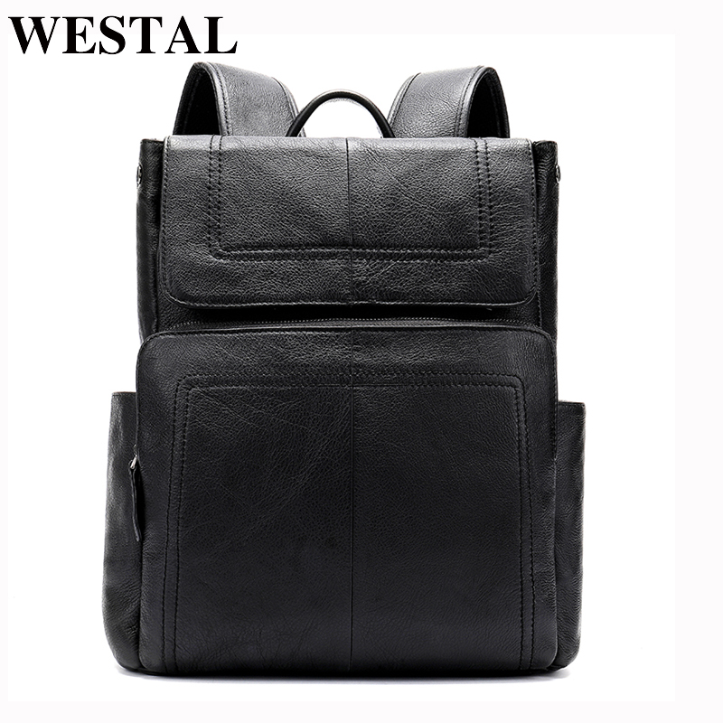 WESTAL Men Genuine Leather backpack Male laptop casual man Messenger Women Backpack female Schoolbag Backpacks for men 6115-in Backpacks from Luggage & Bags    1