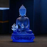 High grade Glazed Glass Pharmacist Buddha Crystal Crafts Fengshui Ornaments Creative Sculpture Home Decor Statue Gifts Souvenirs