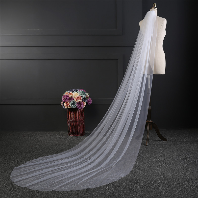 Simple One Layer Chapel Length Bridal Veils Soft Tulle White Ivory 3m*1.5m Wedding Veil With Comb Cheapest Bridal Accessories