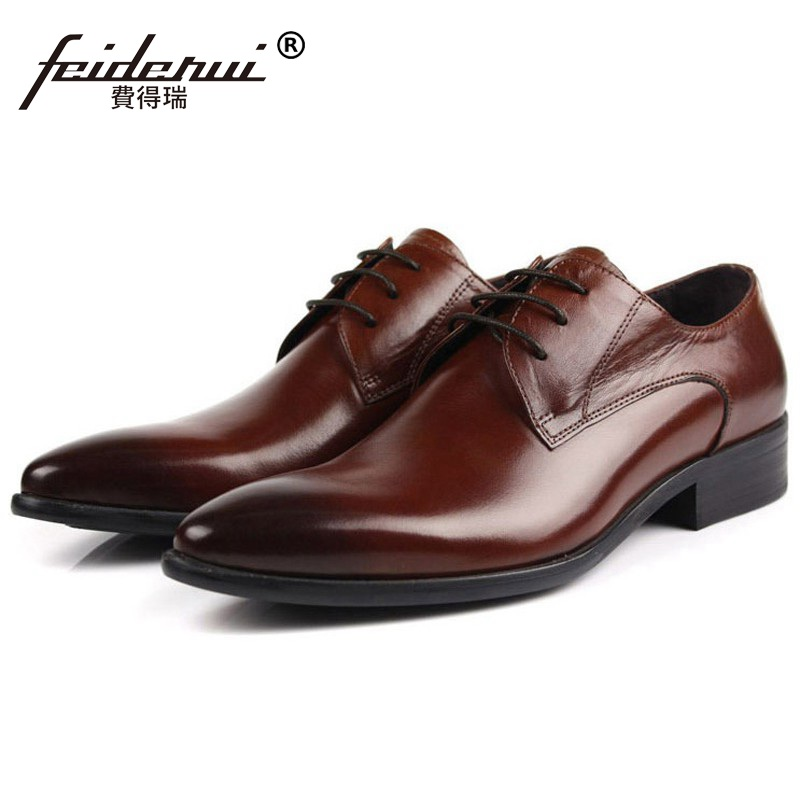 Luxury Formal Brand Man Business Dress Shoes Genuine Leather Italian Designer Oxfords Top Quality Pointed Derby Men's Flats BD11 hot sale italian style men s flats shoes luxury brand business dress crocodile embossed genuine leather wedding oxford shoes