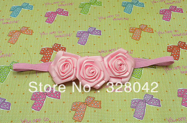 Trail order triple Rosettes DIY rose accessories /satin silk flower /rosettes ON Thin Elastic headbands hair accesories 30cs/lot