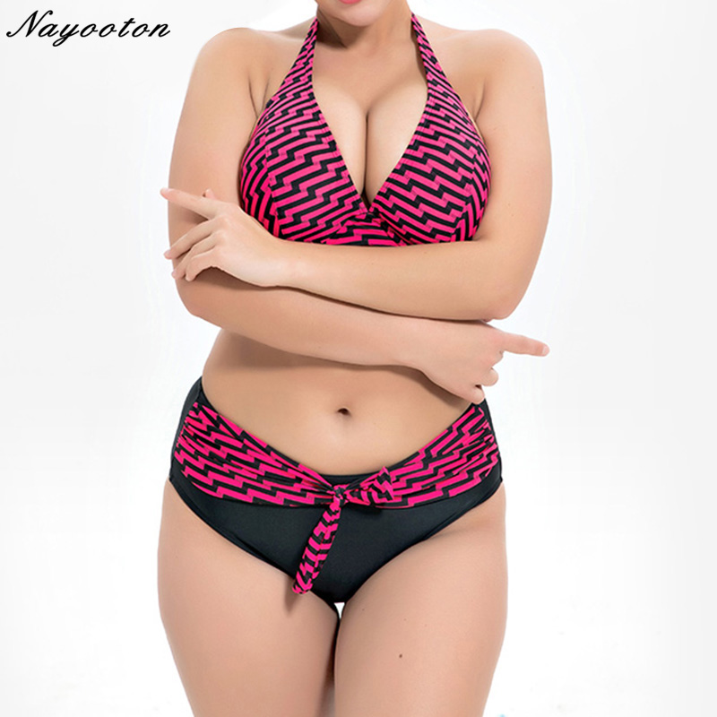 2019 Sexy PLUS SIZE Bikini Set Swimwear Women Push Up High Waist Bikini Swimsuit  Multi Color Printing Beachwear Bathing Suit