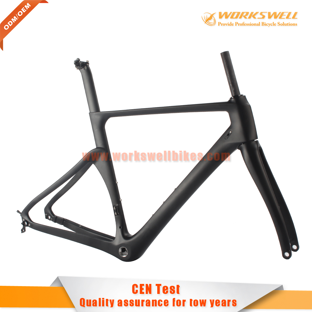 Carbon road axle thru bike frame , 46 cm Cabon disc road bike frame ...