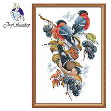 цена на Joy Sunday,Magpies and blackberries,animal pattern cross stitch embroidery,printing cloth embroidery kit,cross stitch needlework