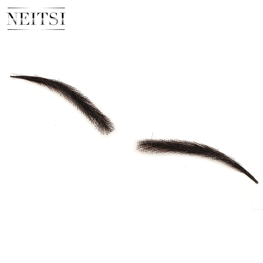 Image 3 - Neitsi Woman One pair 100% Human Hair Lace Base Fake Eyebrows KS W705Eyebrow Enhancers   -