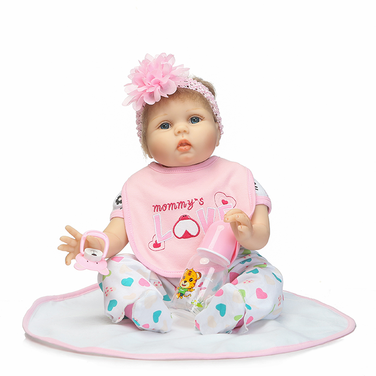 22 inch Silicone Reborn Babies Dolls Toy Lifelike Newborn Princess Baby Doll Toy For Kids Girls Brinquedos Lovely Birthday Gift can sit and lie 22 inch reborn baby doll realistic lifelike silicone newborn babies with pink dress kids birthday christmas gift