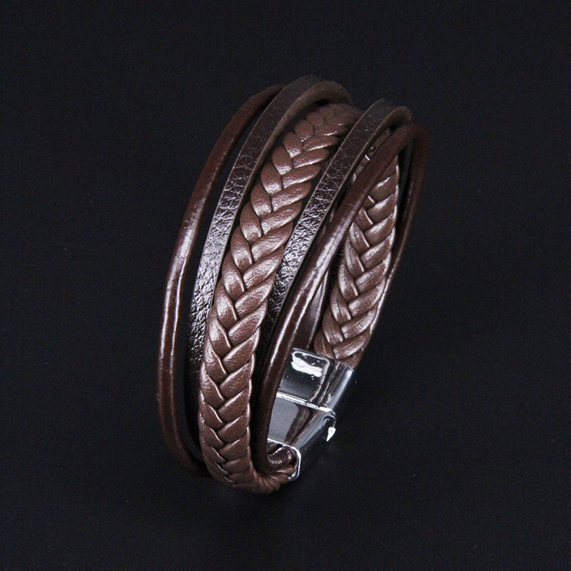 NIUYITID Men Leather Bracelet Magnet Buckle Vintage Male Braid Jewelry For Women Handmade Multi layer Wrist Band Gifts