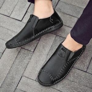 Image 5 - Męskie skórzane mieszkania projekt modne buty w stylu casual dla mężczyzn 2019 New Arrival mężczyźni mieszkania obuwie męskie mokasyny mokasyny