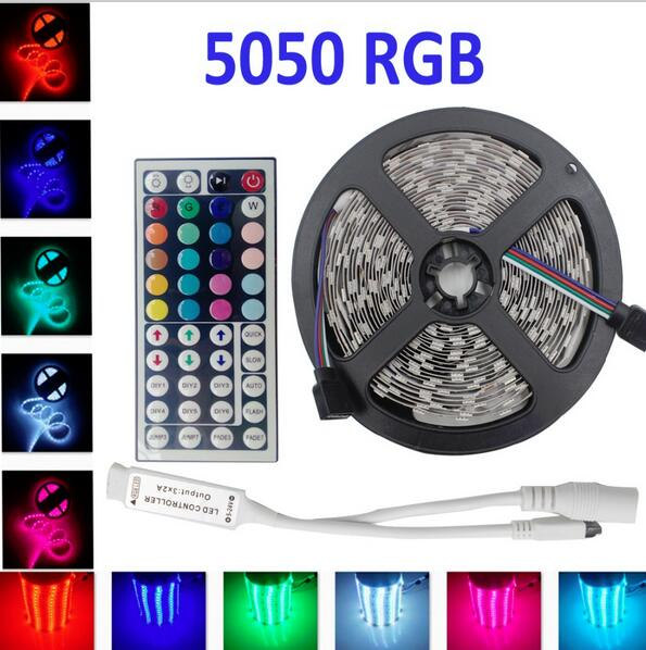 5m Non Waterproof 5050 RGB LED Strip lights with 44 keys IR Remote Controller DC12V LED Light Ribbon tape 60leds/M