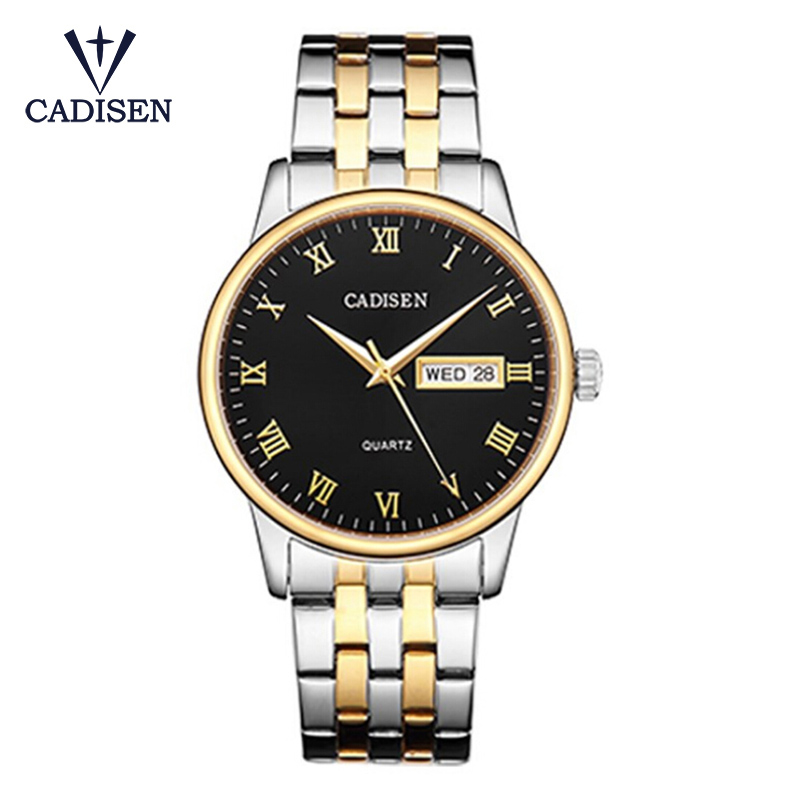 CADISEN Fashion Lovers Quartz Watch Men Women Stainless Steel Watches Calendar Waterproof Wristwatches Relogio Masculino carnival fashion simple couple watch men women quartz wristwatches ceramic waterproof calendar lovers watches relogio masculino