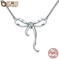 BAMOER Hot Sale 100 925 Sterling Silver Twist Bowknot Pendant Necklace Women Authentic Sterling Silver Jewelry