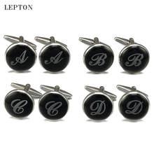 Запонки lepton мужские с черными круглыми буквами серебристые