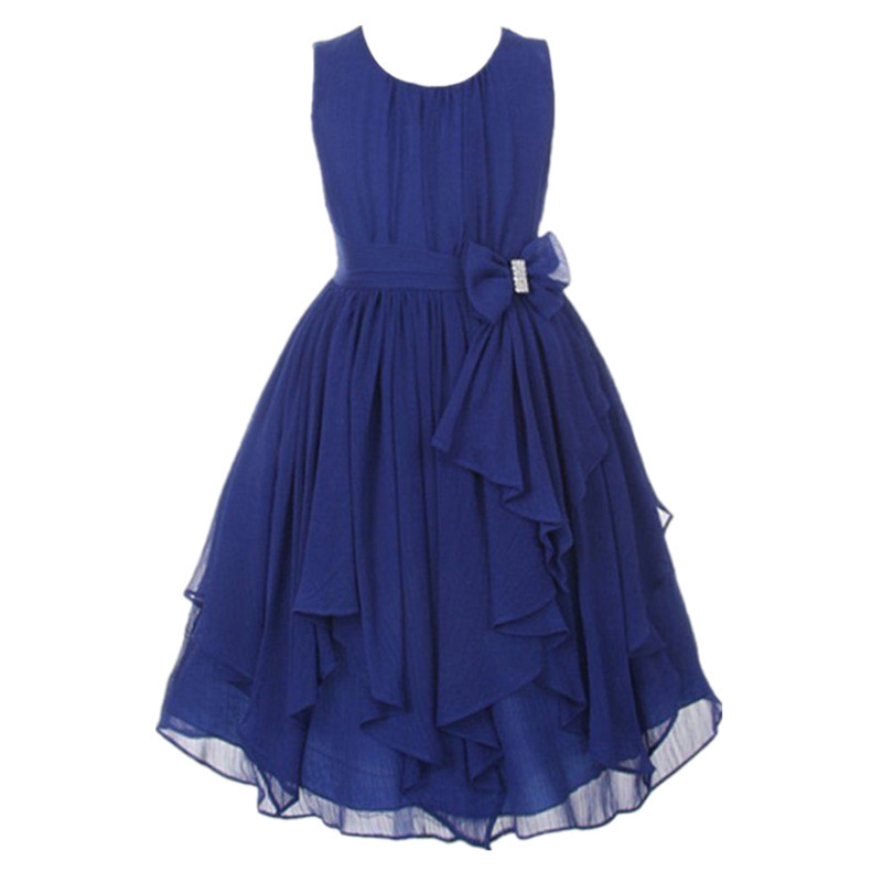 Fashion New Girls Dress Summer 2017 Beautiful Ruffle Navy -4968