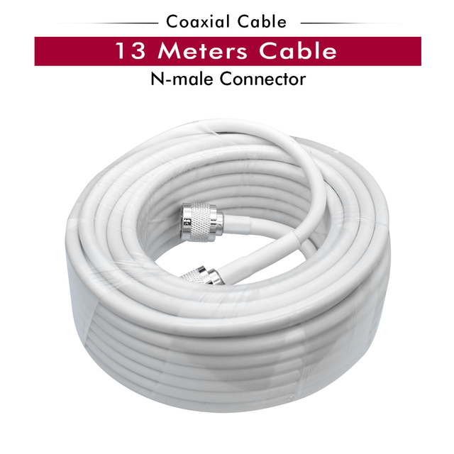 13 Meters White RG6 Coaxial Cable N Male to N Male Connector Low Loss Coax Antenna Cable for Mobile Cell Phone Signal Booster
