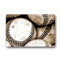 Custom Novelty Design Baseball Indoor Outdoor Rectangle Floor Mat Doormat Rugs Top Fabric Non Slip Backing