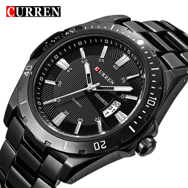 6cf238fc442 Curren Luxo Marca Completa de Aço Inoxidável Relógio Analógico Preto  Business Casual Relógio de Pulso de