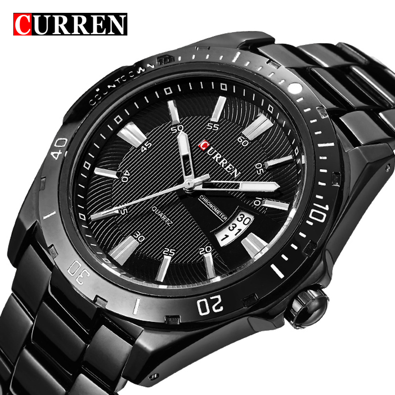 Curren Luxury Brand Full Stainless Steel Watch Black Analog Sport Men's Quartz Business Casual WristWatch Military relogio Male curren brand luxury men watch full stainless steel watches business casual quartz colck military sport wristwatch relogio 8023