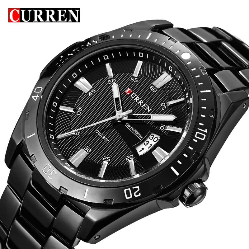 Curren Luxury Brand Full Stainless Steel Watch Black Analog Sport Men's Quartz Business Casual WristWatch Military relogio Male