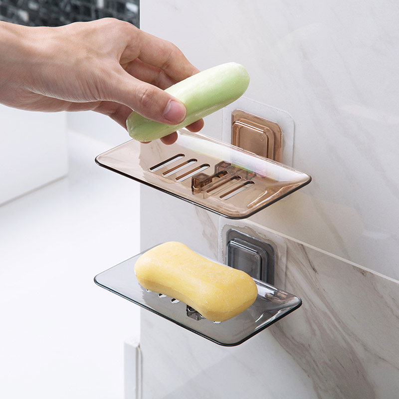New Soap Box Creative Bathroom Accessories Transparent PP Drain Wall Hanging Scented Soap Holder Sponge Rack Storage Organizer