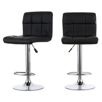 2PCS PU Leather Swivel Bar Stools Chairs Adjustable Pub Chair Barstools