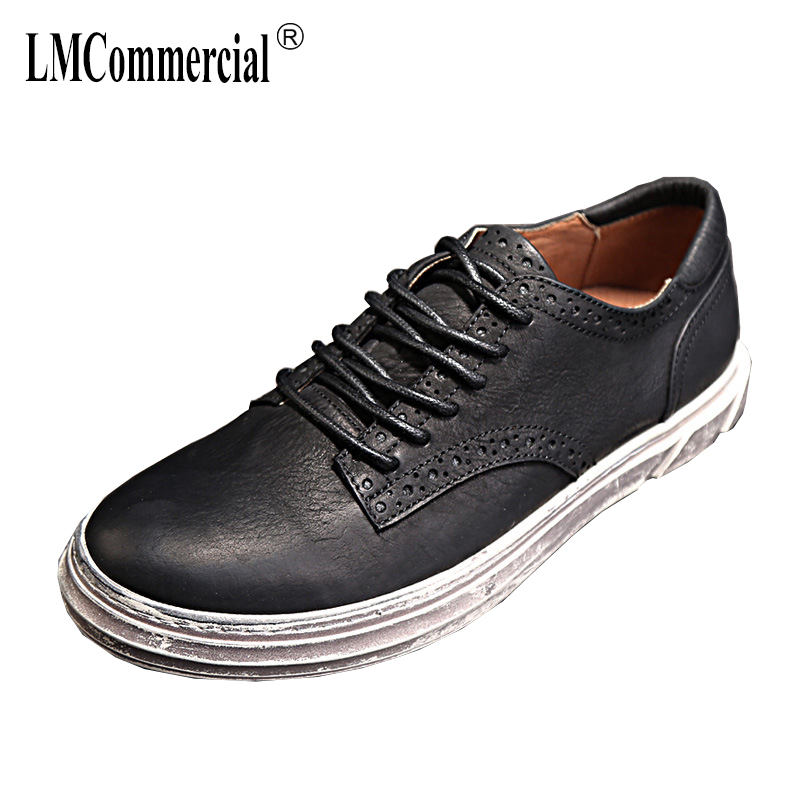 spring and autumn men's casual all-match Genuine Leather shoes British retro men shoes all-match cowhide breathable sneaker male autumn winter european british retro men shoes male leather breathable sneaker fashion boots men casual shoes handmade fashion