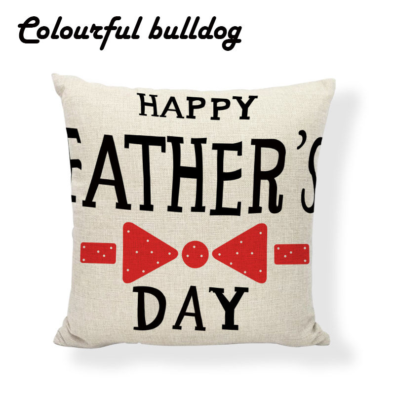 Elegant Father Day Pillow Cushion Case Classic Love Papa Almofadas Para Sofa Wedding Square Linen Home Couch Seat Decor Cojin