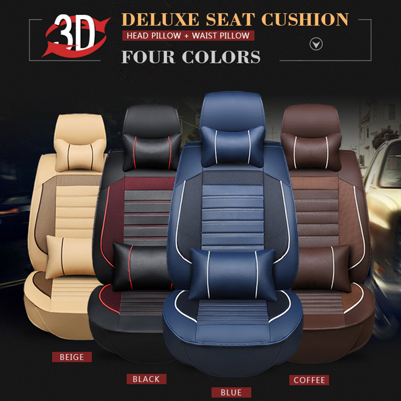 SCOTABC New Luxury Leather Four Seasons Car Seat Covers for geely emgrand ec7 x7 Cover for Vehicle Seatotomobil Aksesuar
