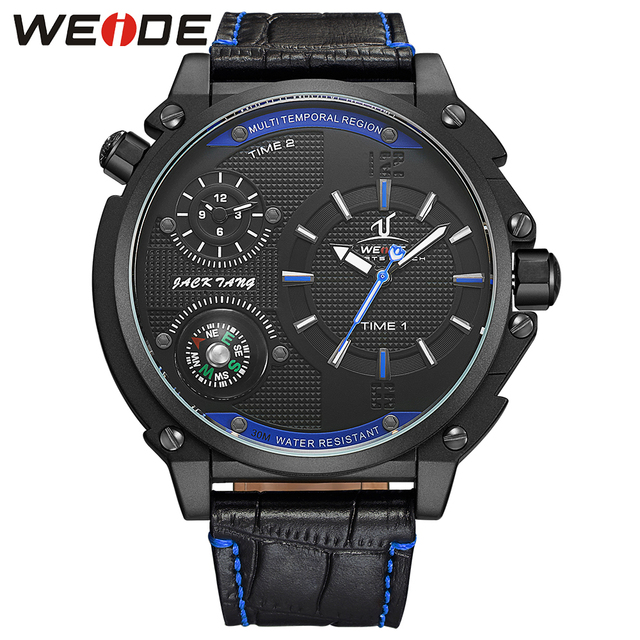 WEIDE 1507 Men Watches Top Brand Luxury Men Military Wrist Watches Leather Men Sports Casual Watch Waterproof Relogio Masculino