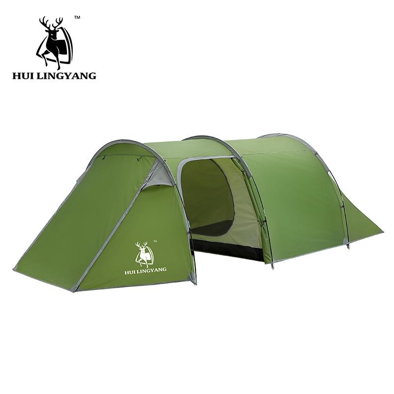 Huilingyang открытый 3-4 человек двойной-один-комнатная квартира туннель палатка Ручной Дождь высокое качество палатка