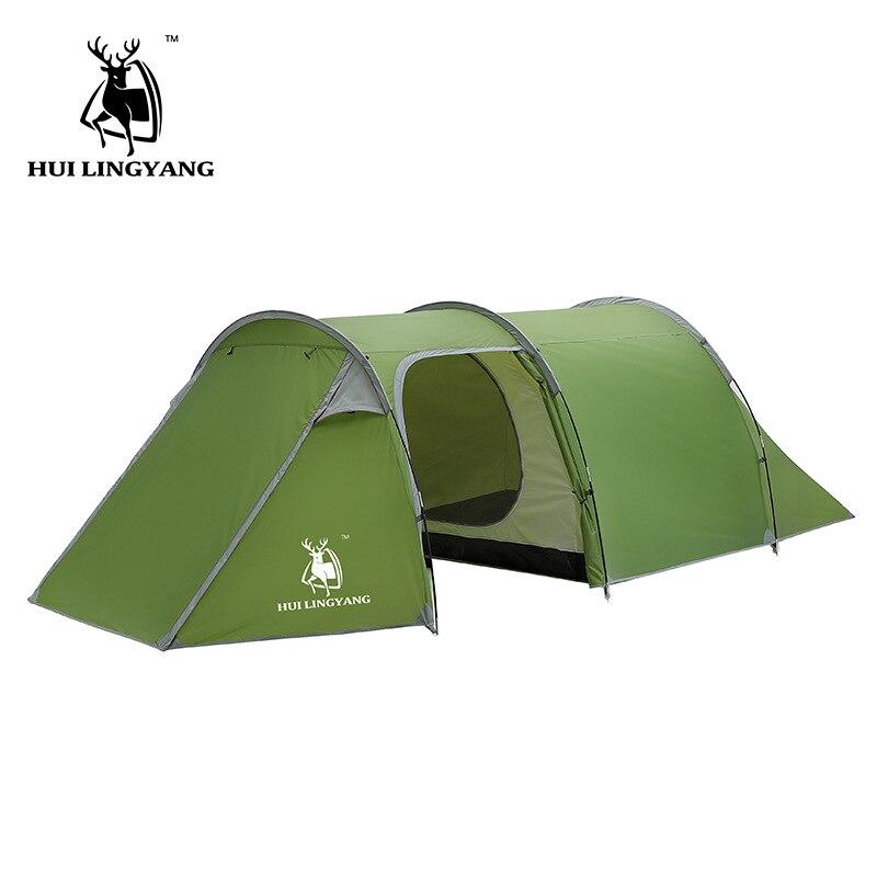 Huilingyang Extérieure 3-4 Personnes Double-une Seule Lit Chambre Appartement Tunnel Tente Camping Main Pluie haute qualité tente